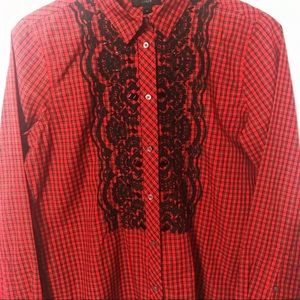 Womens J crew Gali red plaid embroidered top